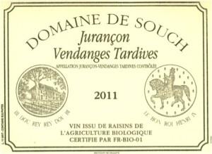 L'étiquette de la bouteille des vendanges tardives de 2011